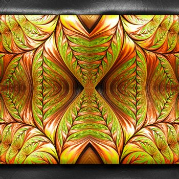 3D rendering of plastic background with embossed fractal on leather
