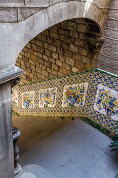 "Detail of ""Casa del Ardiaca"" in Barcelona of Spain"