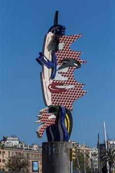 "Pop art sculpture ""El Cap de Barcelona"", Barcelona Head by artist Roy Lichtenstein, Barcelona, Catalonia, Spain"