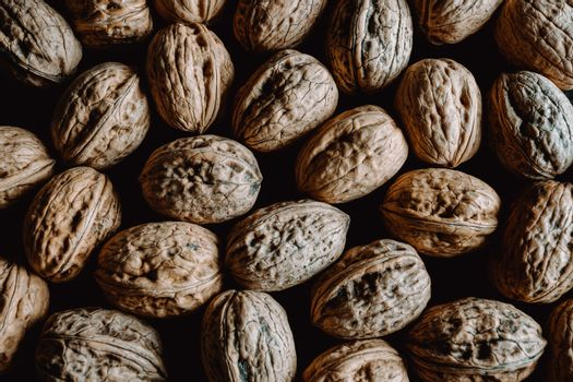 Background filled with nuts from above