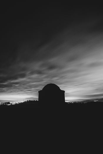 A black and white minimal shot of a building