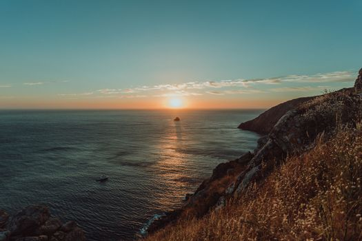 Sunset from the cliffs on the spanish coast