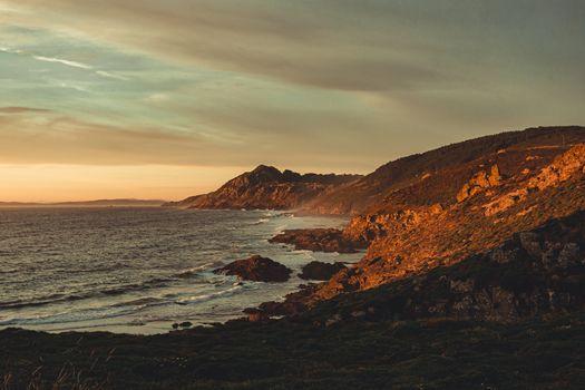 Wild spanish coast during the sunset