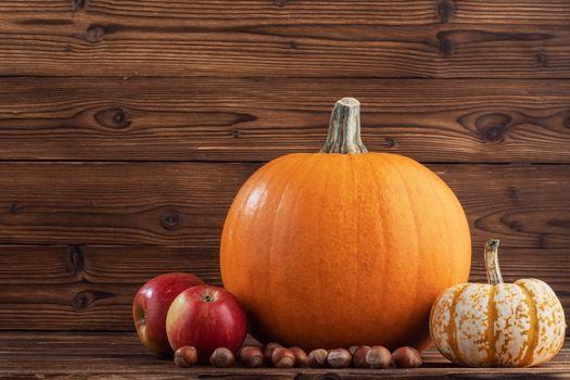 Autumn harvest still life with pumpkins , apples , hazelnuts on wooden background