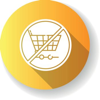 Anti consumerism yellow flat design long shadow glyph icon