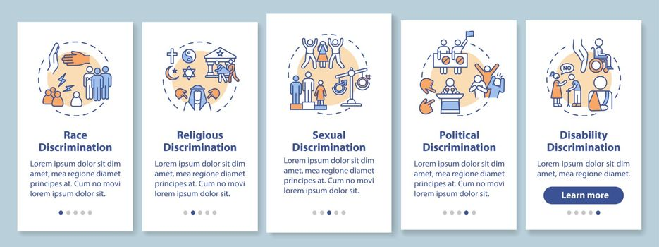 Discrimination types onboarding mobile app page screen with concepts