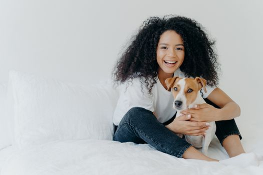 People, pet care and friendship concept. Smiling Afro woman with glad expression cuddles pedigree dog, sit on comfortable bed, copy space area on white background, going to sleep or have rest
