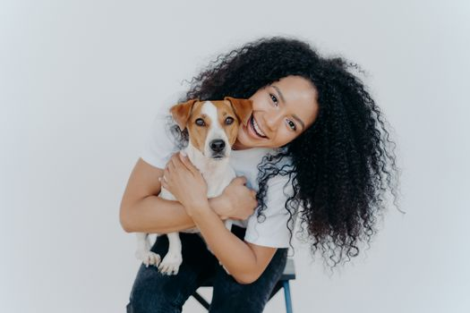 Happy curly woman tilts head, holds pedigree dog, has cheerful expression, smiles pleasantly, has curly hairstyle, wears white t shirt, isolated. Afro lady petting favourite domestic animal.