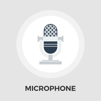 Vintage microphone icon vector. Flat icon isolated on the white background. Editable EPS file. Vector illustration.