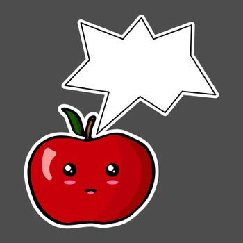 Kawaii sticker colorful cartoon apple with thought bubble. Vector illustration isolated on dark background.