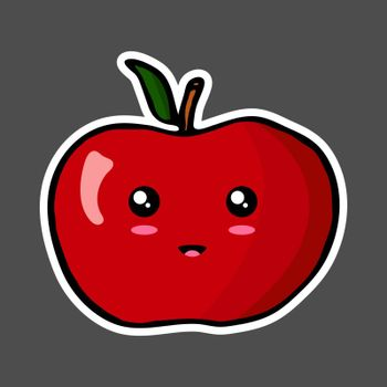 Kawaii colorful cartoon apple sticker. Vector illustration isolated on dark background.