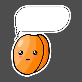 Kawaii sticker colorful cartoon apricot with thought bubble. Vector illustration isolated on dark background.