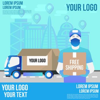 Online delivery shopping on mobile flat design with concept truck and robot service. This design can be used for websites, landing pages.Internet shipping web banner with modern city.