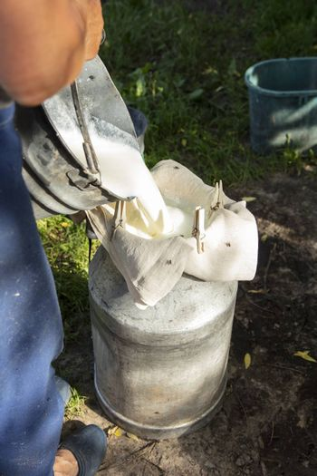 farmer passes the milk through the strainer, the old way of cleaning milk from dirt