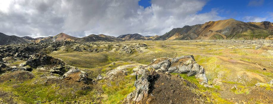 Panorama of Iceland landscape at Laugavegur hiking trail in Fjallabak Nature Reserve. Travel and tourism.