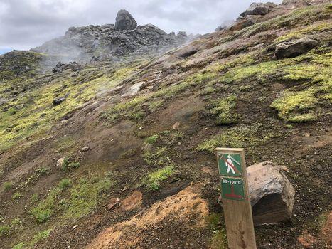 Landmannalaugar, Iceland, July 2019: Hot temperature, do not walk warning sign on volcanic area in Iceland