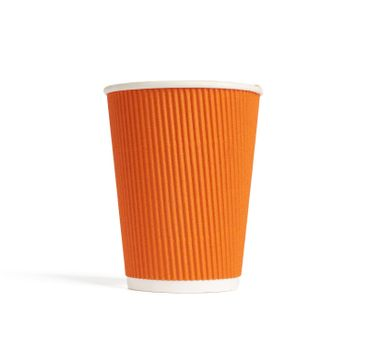 paper orange cup for hot takeaway drinks isolated on a white background. Plastic rejection concept, zero waste