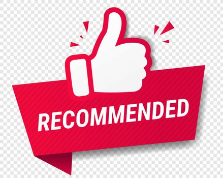 Red Banner Recommended With Thumbs Up Transparent Background With Gradient Mesh, Vector Illustration