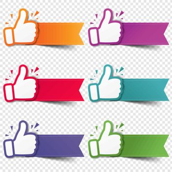 Hand Set Recommended With Thumbs Up With Transparent Background With Gradient Mesh, Vector Illustration