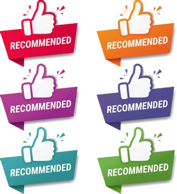 Banner Recommended With Thumbs Up With Gradient Mesh, Vector Illustration