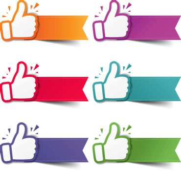 Hand Set Recommended With Thumbs Up With White Background With Gradient Mesh, Vector Illustration