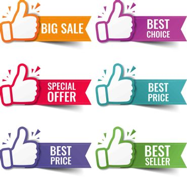 Hand Banner Collection Recommended With Thumbs Up With White Background With Gradient Mesh, Vector Illustration