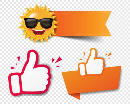 Summer Sale Banner Recommended With Thumbs Up Transparent Background With Gradient Mesh, Vector Illustration