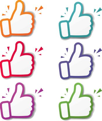 Hand Banner Recommended With Thumbs Up White Background With Gradient Mesh, Vector Illustration