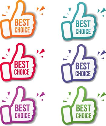 Hand Banner Recommended With Thumbs Up With White Background With Gradient Mesh, Vector Illustration