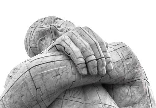 Statue of thinker man