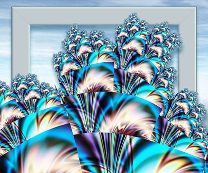 3D rendering of computer generated abstract colorful fractal artwork for creative design, art, home decoration, entertainment, and mobile and PC screen wallpaper