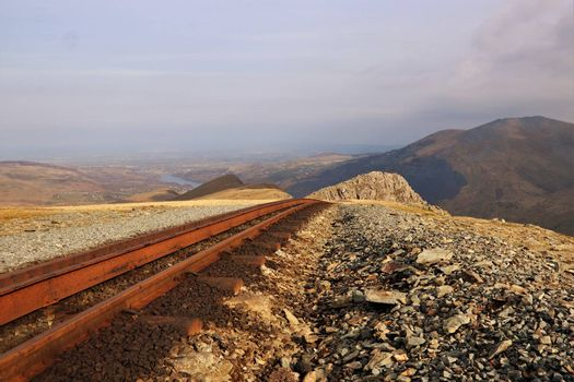 An empty scenic railway from top of mountain