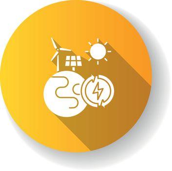 Renewable energy yellow flat design long shadow glyph icon