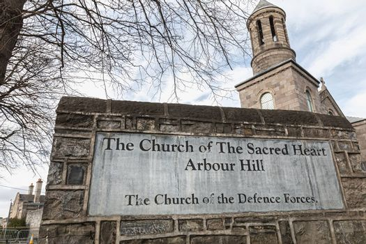 Dublin, Ireland - February 13, 2019: Architecture detail of the Church of the Sacred Heart near the city center on a winter day