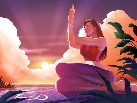 Vector illustration of a beautiful lady doing yoga in garudasana pose or the eagle pose at the seashore with the sunrise in the morning