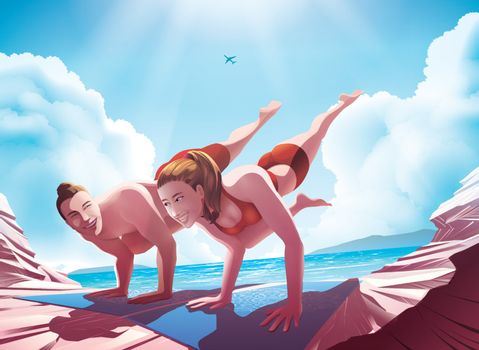 Vector illustration of a couple doing yoga together in eka pada bakasana pose or crane pose on the rocky seashore under the blue sky