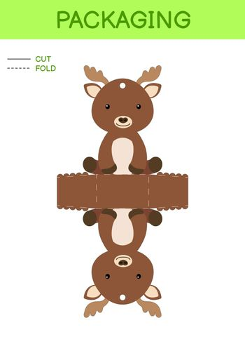 DIY party favor box die cut template design for birthdays, baby showers with cute elk for sweets, candies, small presents. Printable color scheme. Print, cut out, fold, glue. Vector stock illustration