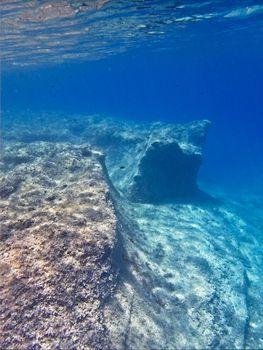 Beautiful blue waters on the coast of Mediterranean island of Malta