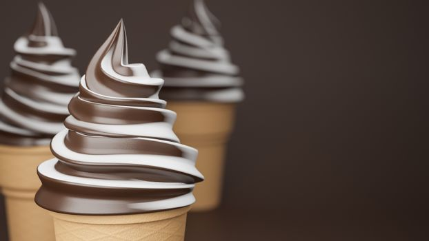 Soft serve ice cream of chocolate and milk flavours on crispy cone on brown background.,3d model and illustration.