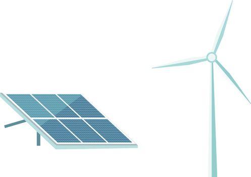 Renewable energy flat color vector objects set