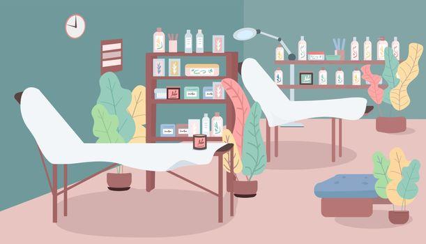 Cosmetology salon flat color vector illustration