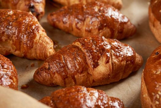 baked croissants in a baking sheet on brown parchment paper, delicious and appetizing pastries, close up