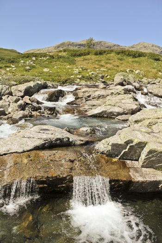 Beautiful Storebottåne river by the vavatn lake. Summer landscape in Hemsedal, Buskerud, Norway.