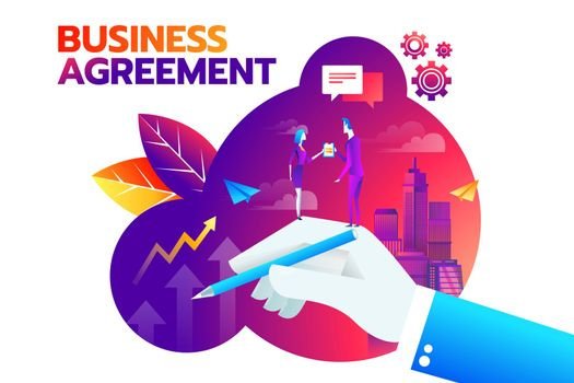 businessman and businesswoman shaking hand and agree to sign contract after successful business discussion. Business agreement concept