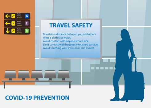 Travel Safety Instructions in airport terminal concept