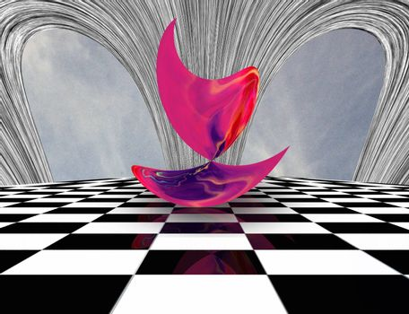 Surreal composition. Pink matter on chessboardFlying saucers over futuristic megapolis.