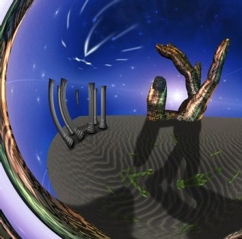 Desert scene with temple and image of clock. 3D rendering