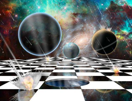 Planetary Armageddon. Wormhole in chessboard. Massive meteorite - asteroid shower destroy planets. 3D rendering