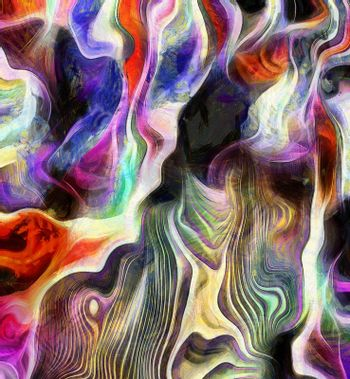 Abstract of colors and lines. Purple is main color. 3D rendering.