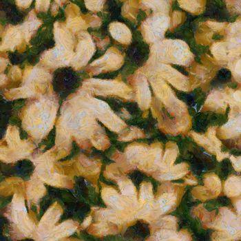 Modern art. Flowers in muted colors. 3D rendering